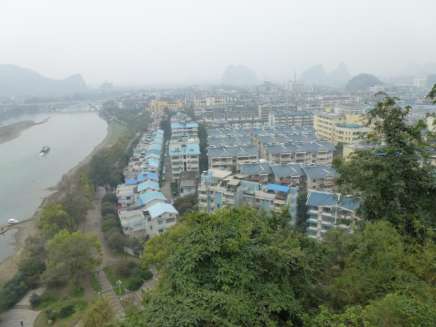 View from hill across Guilin