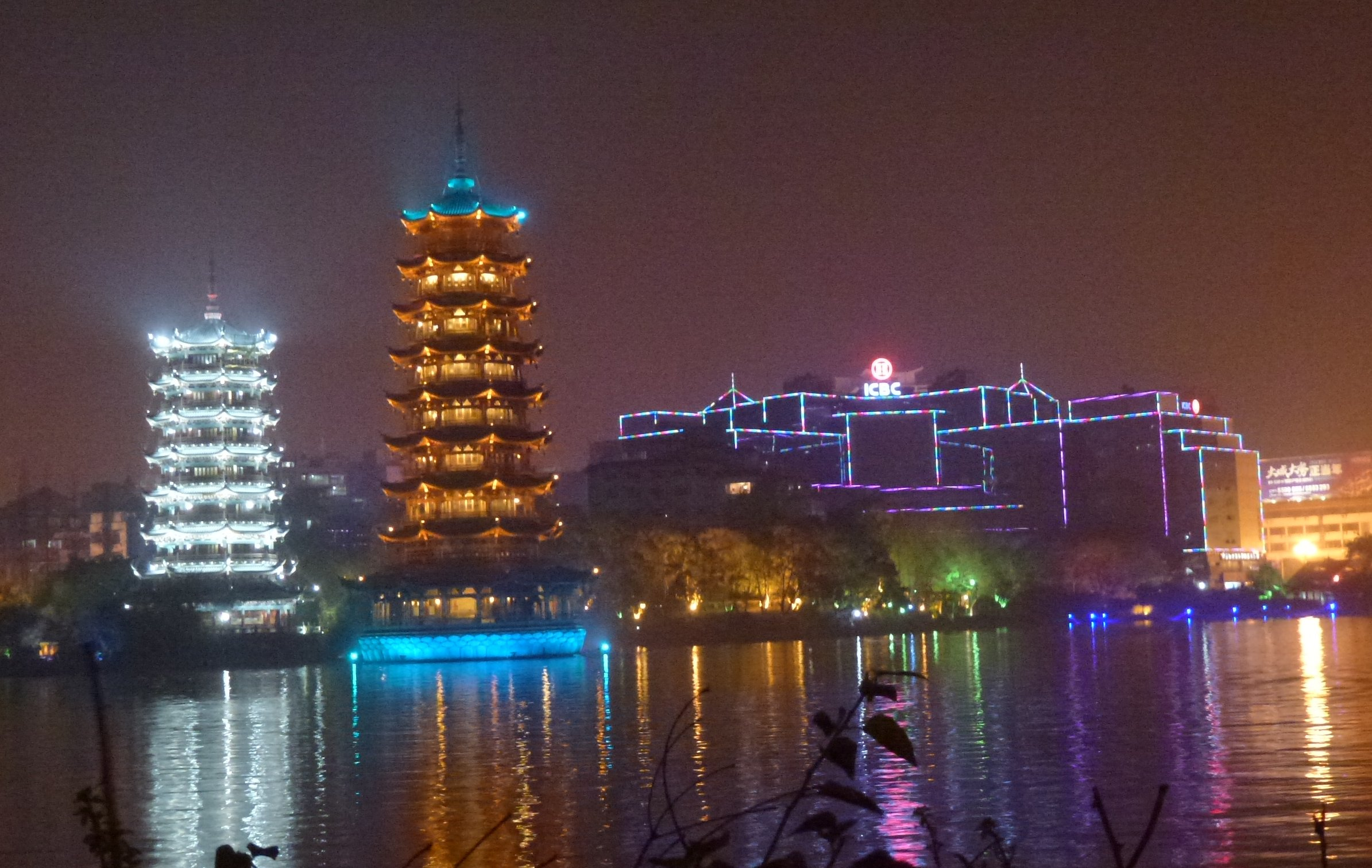 Guilin water system by night -Pagodas
